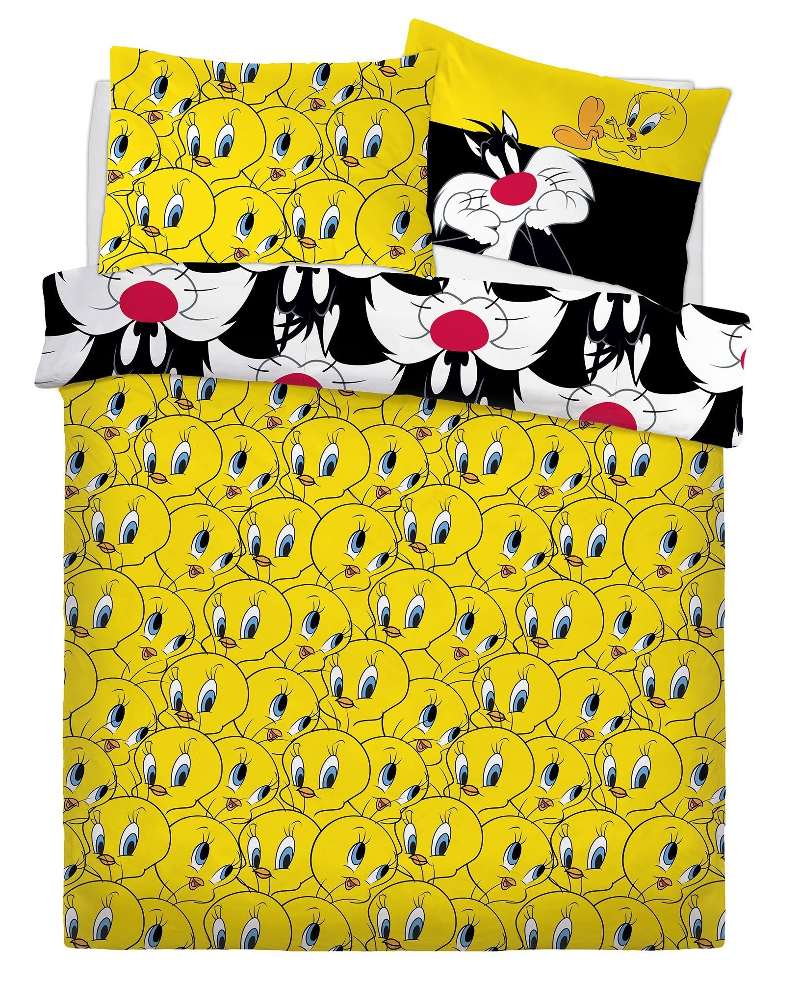 Looney Tunes Sylvester /& Tweety Fully Reversible Duvet Quilt Cover Bedding Set